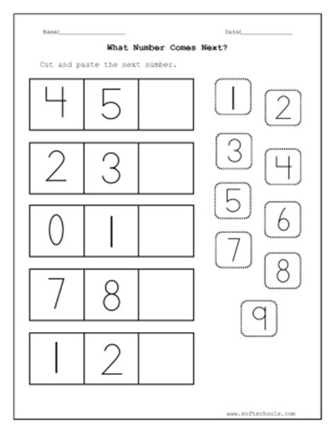 cut and paste the next number worksheet