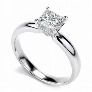 14k white gold diamond princess cut solitaire engagement for White gold princess cut diamond wedding rings