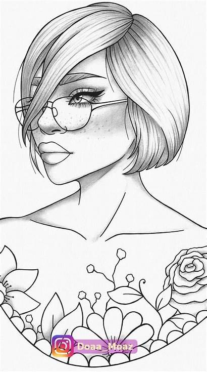 Pdf Coloring Adult Portrait Printable Stress Malvorlagen