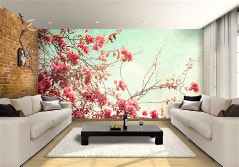 spring flowers custom wallpaper mural print  jw