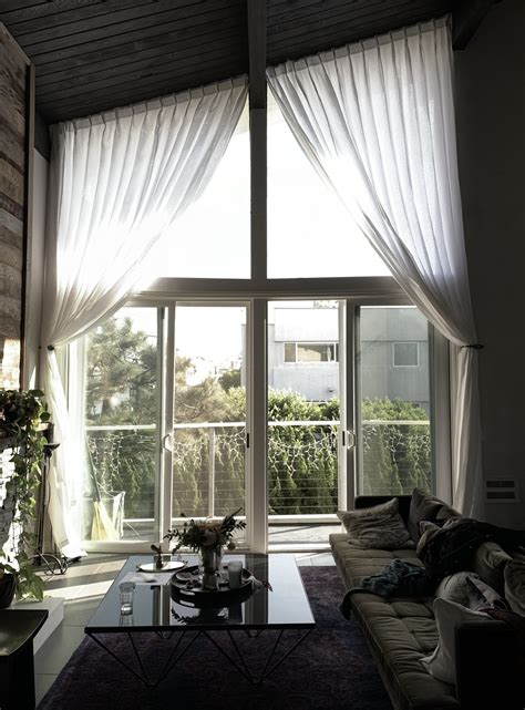 angled high ceiling drapery solutions  loft curtains