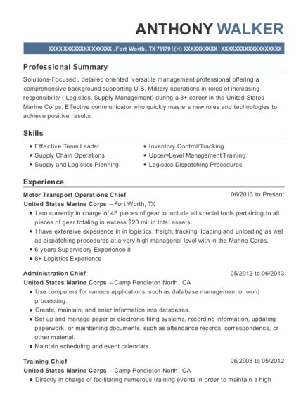 List Marine Corps Resume by United States Marine Corps Motor Transport Operations