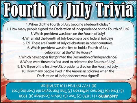 4th of july trivia fourth of july trivia jamestown gazette