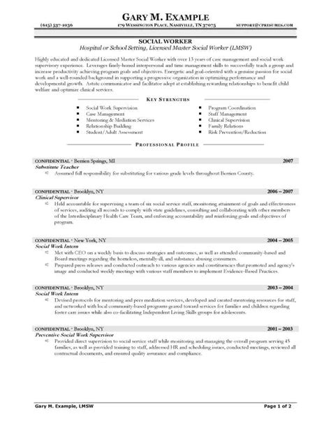 Social Services Resume Exles by Resume Exles Social Work Exles Resume