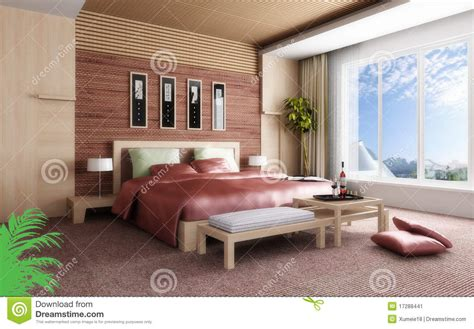 chambre 3d rendu 3d de la chambre à coucher à la maison illustration