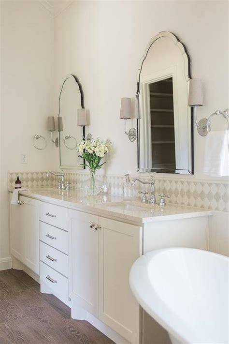 ivory dual bath vanity  satin nickel pulls