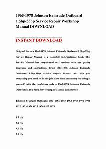 1977 Johnson Evinrude 35hp Outboard Factory Service Work Shop Manual Download