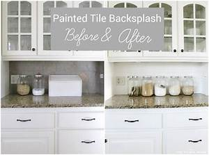 I painted our kitchen tile backsplash the wicker house for Kitchen colors with white cabinets with wall art ceramic tile wall hangings