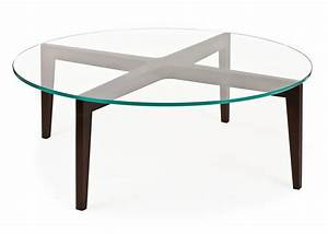 Round glass coffee table wood base unique shaped table for Glass top circle coffee table