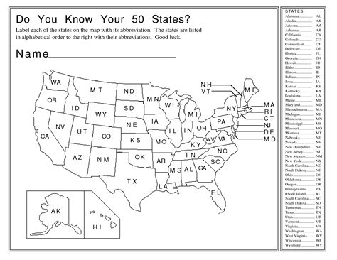 12 best images of name that state worksheet united