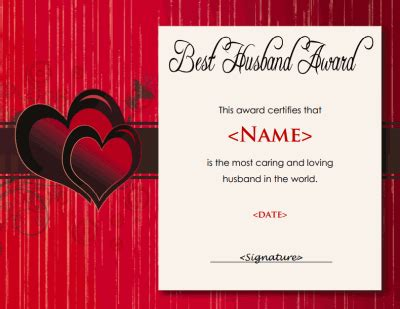 husband certificate  husband gifts  hubby
