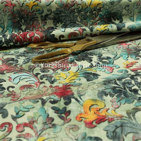 modern printed velvet floral blue damask multi colour pattern upholstery fabric ebay
