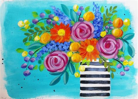 Learn How To Paint Easy Roses And Daisies! Boho Flower