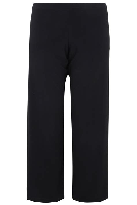 Black Pull Wide Leg Trousers Plus Size