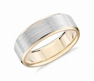 Brushed beveled edge wedding ring in 14k white and yellow for Gold and white gold wedding rings