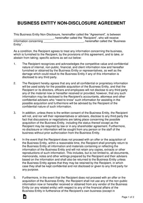 business sale  disclosure agreement nda template