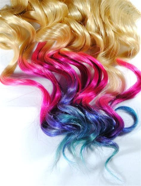Rainbow Ombre Beauty Human Hair Extensions Dyed Tips