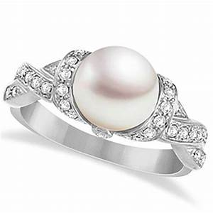 freshwater cultured pearl and diamond ring 14k white gold With pearl and diamond wedding rings