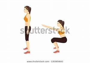 Exercise Guide By Woman Doing Air Squat In 2 Steps In Side