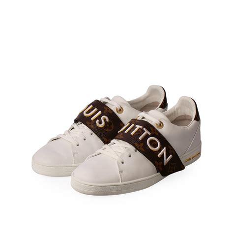 louis vuitton monogramleather frontrow sneakers white    luxity
