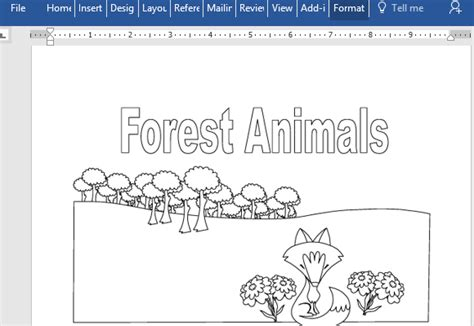 forest animals educational coloring book  word
