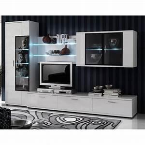 Meuble Tv Rangement : meuble tv viarregio en bois blanc brillant ~ Teatrodelosmanantiales.com Idées de Décoration