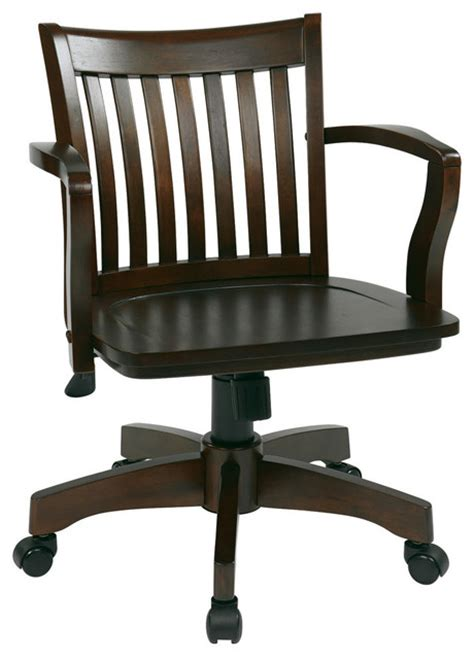 deluxe wood banker s chair with wood seat in espresso wood