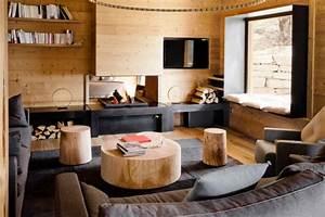 Salon Gris Et Bois : chalet cosy neve design ~ Melissatoandfro.com Idées de Décoration