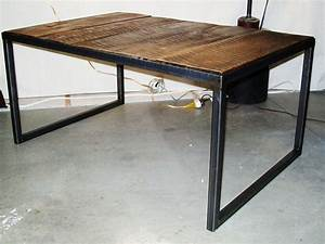 handmade industrial wood steel coffee table by lucah With custom made wood coffee tables