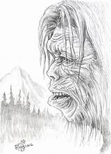 Sasquatch Coloring Yeti Bigfoot Foot Pages Drawing Colouring Creature Sheets Adult Dsg Pencil Fire Books Mario Humanoid Booky Sort Comic sketch template