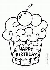 Coloring Muffin Popular Cake Birthday sketch template