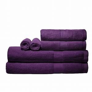 Pure Fiber 100% Bamboo 6 Piece Bath Towel Set Purple