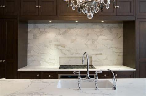 calcutta marble subway tile transitional kitchen
