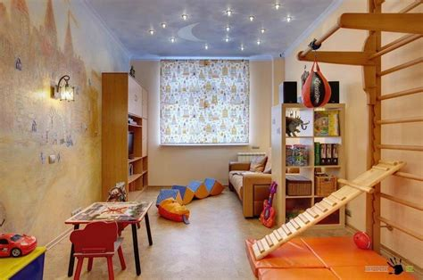 Delightful Kids Room With Brown Sofa And Wooden Tv Cabinet