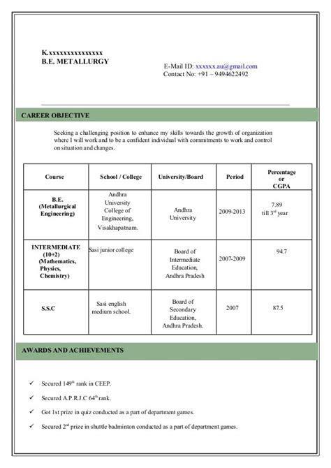 Experience Resume Model by Resume Model Cvs