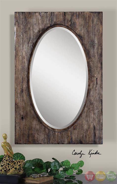Distressed Bathroom Vanity Mirror by Hichcock Rustic Heavily Distressed Wood Vanity Oval Mirror