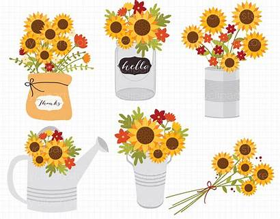 Fall Clipart Flowers Flower Thanksgiving Sunflowers Autumn
