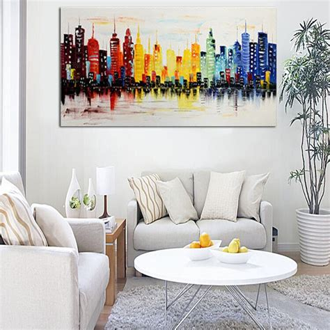 xcm modern city canvas abstract painting print living