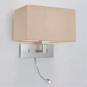 Over Bed Wall Light with Integral LED Book Light, Hotel ...