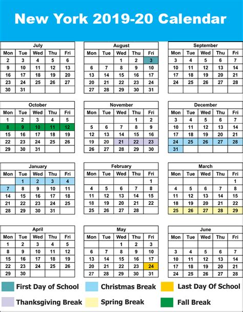 nyc york city school calendar printable calendar diy