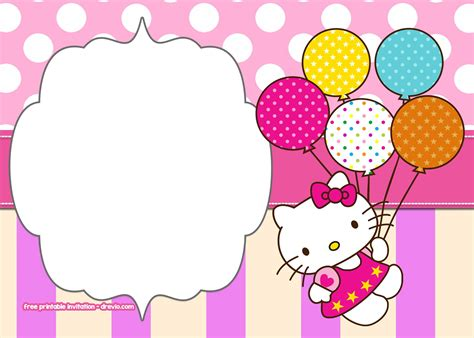 kitty birthday invitation templates