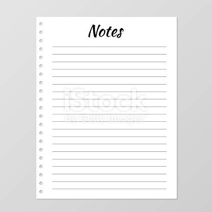 notes list template daily planner page lined paper sheet blank white notebook page isolated on