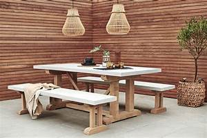 Concrete, And, Oak, Outdoor, Dining, Table, By, Rust, Collections