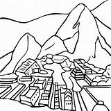 Machu Picchu Peru Coloring Pages Clipart Mount Fuji Pichu Drawing Thecolor Famous Brazil Peruvian Flag Llama Worksheets Sheets Spanish Printable sketch template