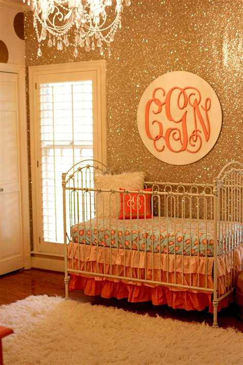 coral and gold glitter nursery project nursery