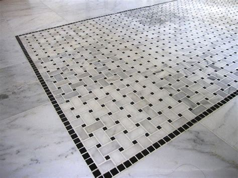 marble basketweave floor tile cococozy see this house a creative neighbor envisions a marvelous master bath