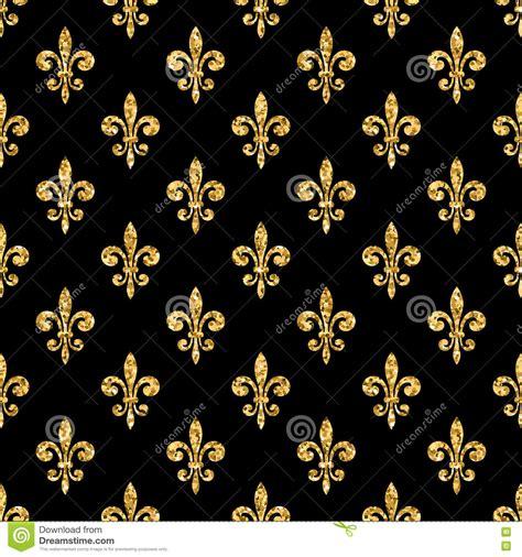 Golden Fleur De Lis Seamless Pattern Black 1 Stock Vector