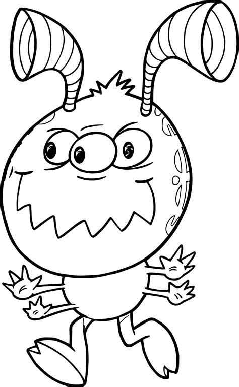 Mean Running Monster Cute Alien Coloring Page