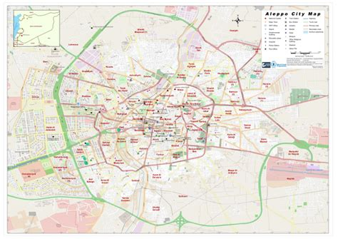 syria aleppo city map  february  syrian arab