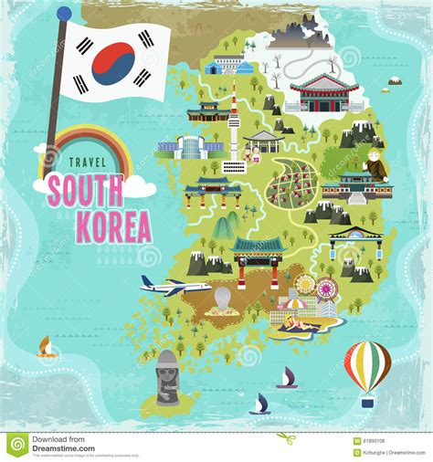 south korea travel map stock vector illustration